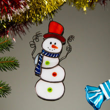 Load image into Gallery viewer, Adorable stained glass Snowman window hanging for Christmas decor