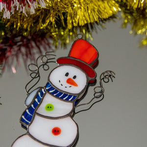 Zoomed stained glass Snowman window hanging