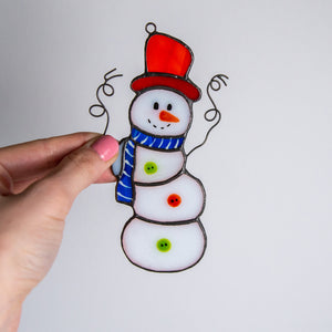 Christmas Snowman suncatcher of stained glass