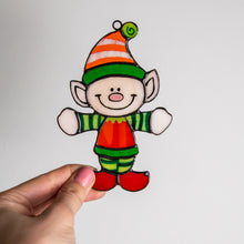 Load image into Gallery viewer, Funny stained glass Santa's Elf window hanging for Christmas holidays