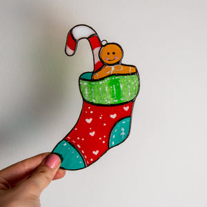 Stained glass Christmas stocking window hanging for winter decor