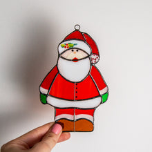 Load image into Gallery viewer, Santa Claus suncatcher of stained glass for Christmas decor