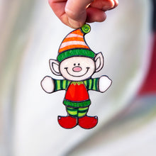 Load image into Gallery viewer, Stained glass Santa'a Elf suncatcher for Christmas home decor