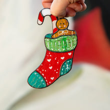 Load image into Gallery viewer, Bright stained glass Christmas stocking suncatcher