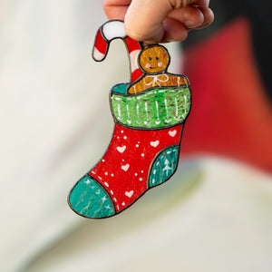 Bright stained glass Christmas stocking suncatcher