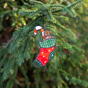 Stained glass Christmas stocking window hanging as a New Year Tree decoration