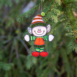 Stained glass Santa's Elf as a New Year Tree decoration