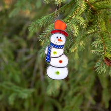 Load image into Gallery viewer, Stained glass snowman suncatcher as a New Year Tree decoration