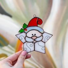 Load image into Gallery viewer, Stained glass snowflake Santa window hanging