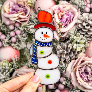 Stained glass snowman with the hat and scarf suncatcher for Christmas decor