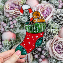 Load image into Gallery viewer, Stained glass stocking with candy cane and cookie suncatcher for Christmas