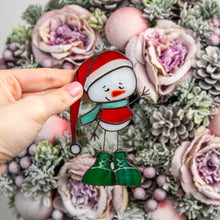 Load image into Gallery viewer, Kind stained glass snowman suncatcher for Christmas window decor