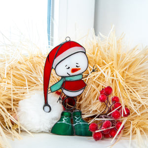 Stained glass snowman wearing green boots suncatcher for Christmas decor