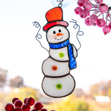 Load image into Gallery viewer, Snowman window hanging of stained glass for winter holidays decor