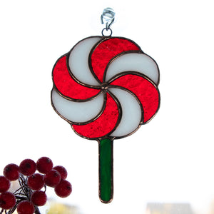 Stained glass Christmas Candy window hanging for home decor