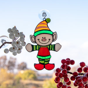 Stained glass Santa's Elf Christmas suncatcher for window