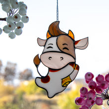 Load image into Gallery viewer, Cute stained glass bull suncatcher for home decor