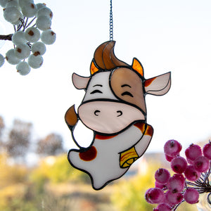 Cute stained glass bull suncatcher for home decor