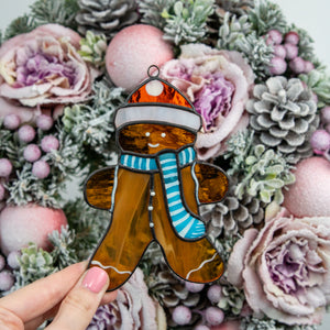 Stained glass ginger cookie man suncatcher for home decor