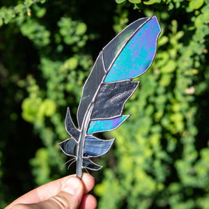 Stained glass raven feather suncatcher with modulating parts for window decoration