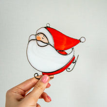 Load image into Gallery viewer, Stained glass skating Santa suncatcher for window decor
