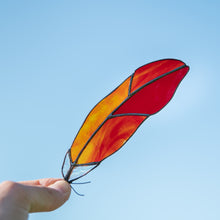 Load image into Gallery viewer, Red cardinal stained glass feather with clear part in the lower part suncatcher