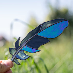 Stained glass raven feather suncatcher for window decoration