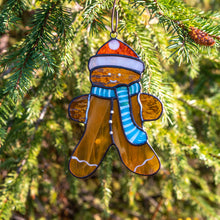 Load image into Gallery viewer, Stained glass cookie man suncatcher used as a New Year Tree decoration