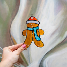 Load image into Gallery viewer, Stained glass suncatcher of a ginger cookie man