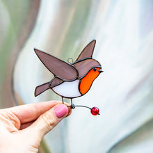 Load image into Gallery viewer, Right-looking robin bird suncatcher for Christmas window decor