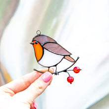 Load image into Gallery viewer, Left-looking stained glass robin bird window hanging for Christmas decor