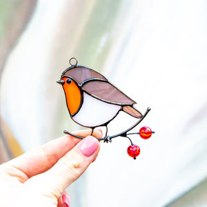 Left-looking stained glass robin bird window hanging for Christmas decor