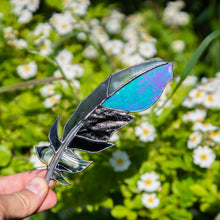 Load image into Gallery viewer, Stained glass window hanging of raven feather with modulating parts
