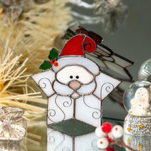 Load image into Gallery viewer, Stained glass snowflake Santa suncatcher for Christmas home decor