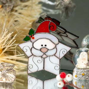 Stained glass snowflake Santa suncatcher for Christmas home decor