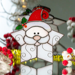 Adorable stained glass Santa shaped as snowflake suncatcher for Christmas