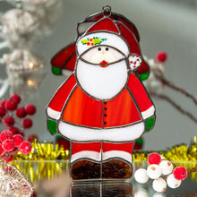 Load image into Gallery viewer, Stained glass Santa Claus suncatcher for Christmas window decor