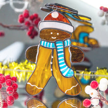 Load image into Gallery viewer, Happy gingerbread cookie suncatcher of stained glass