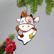 Load image into Gallery viewer, Stained glass cute bull suncatcher for Christmas window decor