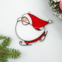 Load image into Gallery viewer, Stained glass skating Santa suncatcher for Christmas window decor