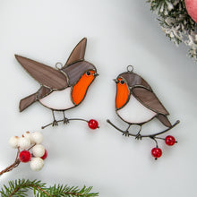 Load image into Gallery viewer, Two stained glass robin birds suncatchers for Christmas decor