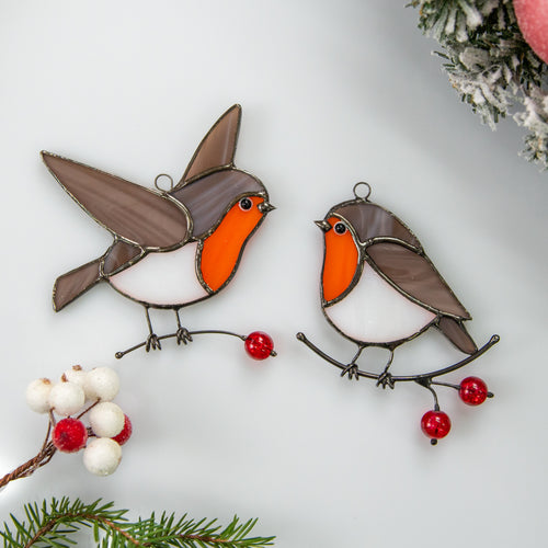 Two stained glass robin birds suncatchers for Christmas decor