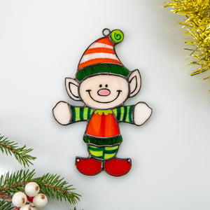 Stained glass Santa's Elf suncatcher for Christmas window decor