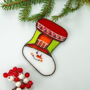 Snowman stocking of stained glass for Christmas window decor