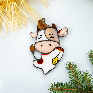 Stained glass happy Christmas bull window hanging