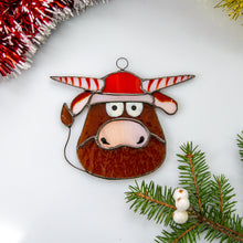 Load image into Gallery viewer, Stained glass funny bull suncatcher for Christmas window decor