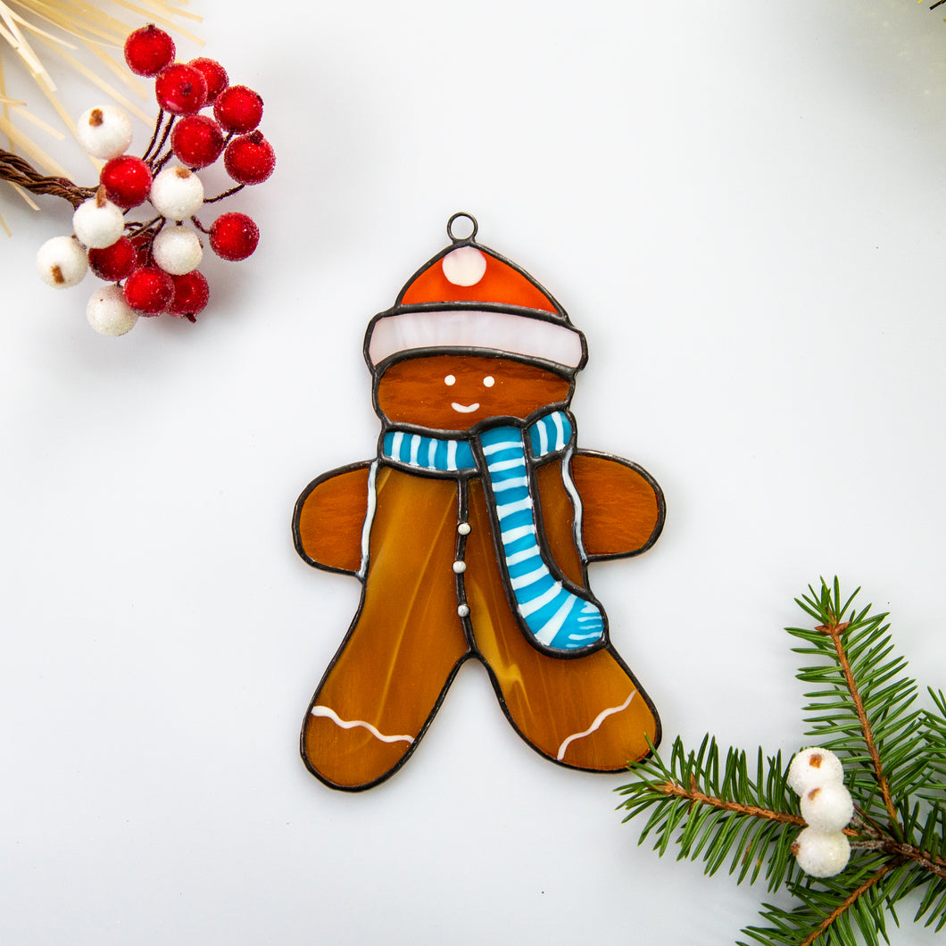 Stained glass ginger cookie man suncatcher for Christmas window decor