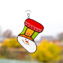 Load image into Gallery viewer, Stained glass Christmas stocking depicting snowman's face window hanging