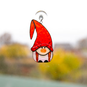 Girl gnome suncatcher of stained glass for Christmas window decor