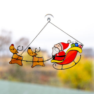 Santa's reindeer team window hanging of stained glass
